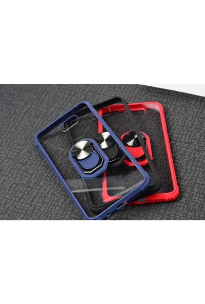 Nezih Case Samsung J7 Prime Uyumlu Yüzüklü Standlı Silikon Kılıf Siyah
