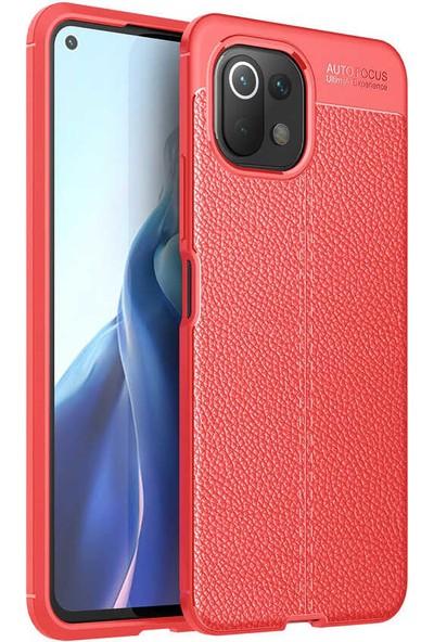 Nezih Case Xiaomi Mi 11 Lite Uyumlu (Deri Görünüm) Silikon Kılıf