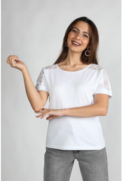 Balins Omuz Dantel Detaylı Süprem Tişört Beyaz