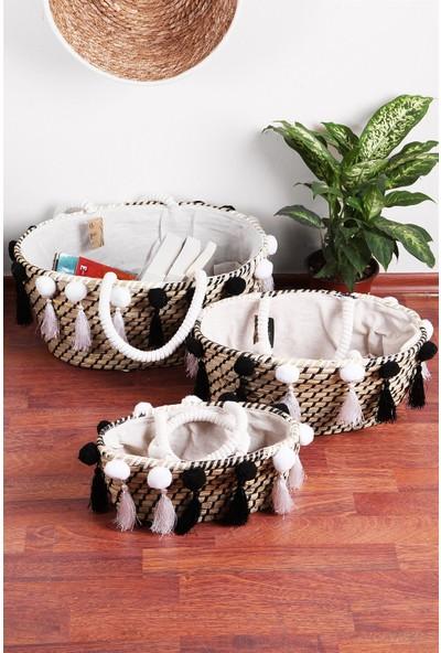 Home Naturel Siyah Ponponlu Hasır Çanta-Sepet HN1014 Home Naturel