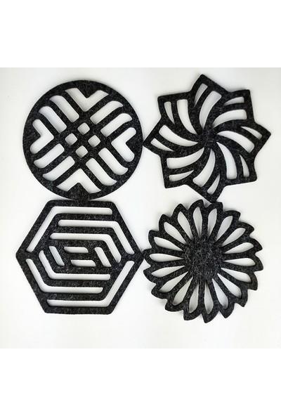 Misingpiece Keçe Geometrik Bardak Altlığı Dörtlü Paket