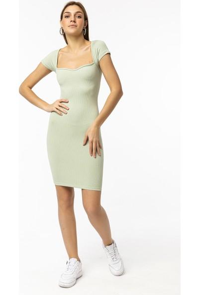 Coral Kalp Yaka Mini Elbise Mint Yeşili