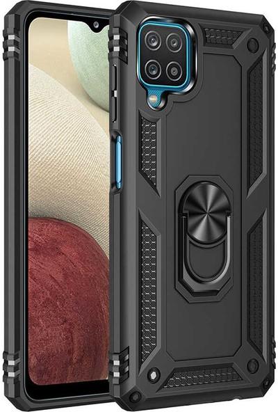 Zore Samsung Galaxy A12 Kılıf Zore Vega Yüzük Standlı Zırh Kılıf