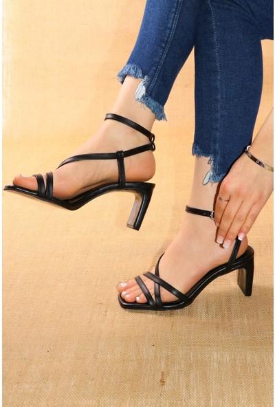 Black White Topuklu Ayakkabı AP-1003 - Siyah