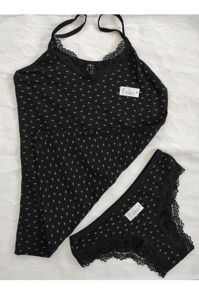 Moda Hitap Kadın Siyah Renk Yaprak Desen Iç Giyim Takım