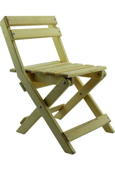 Ahşap Alem Katlanır Çocuk Sandalyesi Verniksiz 1 Adet