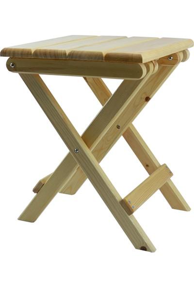 Ahşap Alem Katlanır Piknik Sandalyesi (Tabure) Vernikli 1 Adet