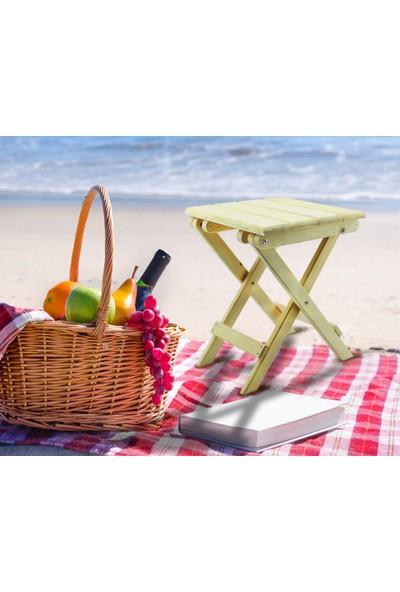Ahşap Alem Katlanır Piknik Sandalyesi (Tabure) Verniksiz 1 Adet