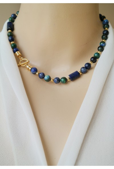 Dizayn Cam Mavi Yeşil Lapis Lazuli Doğal Taş Tasarım Kolye