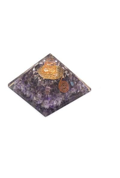 Murty99 Hakiki Doğal Ametist Taşı Orgonit Piramit 270 Gram