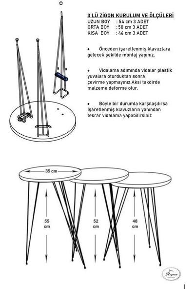 Rupon Home 3 Lü Zigon Orta Sehpa Takımı Dikdörtgen-Pembe Antrasit Beyaz