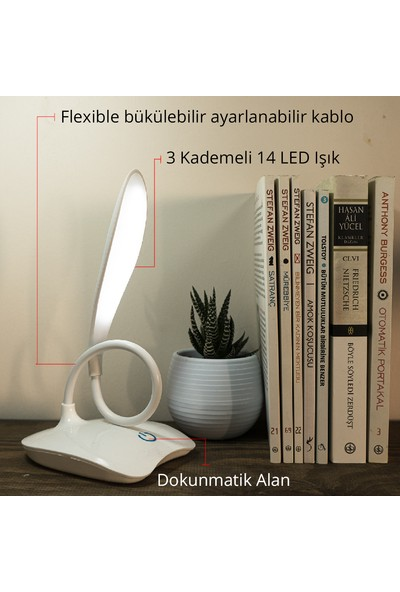 Wlue Şarjlı Dokunmatik LED Masa Lambası 3 Kademeli Okuma Işığı