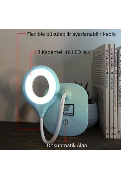Wlue Pilli Dokunmatik 16 LED Masa Lambası 3 Kademeli Okuma Işığı