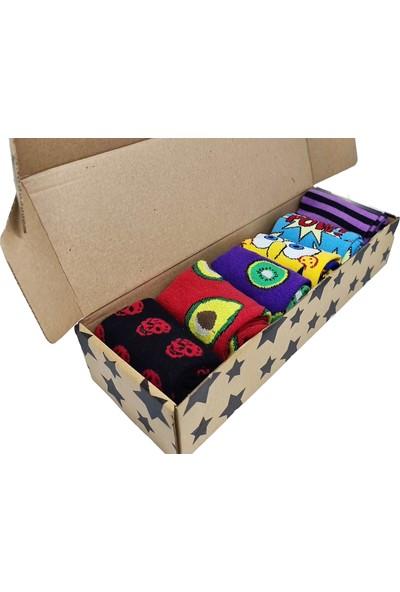 Boldy Çorap Kutusu 6'lı Çizgifilm Figür Çorap Kutusu Unisex Nakışlı Çorap Kutu Renkli Çorap Kutu 6'lı