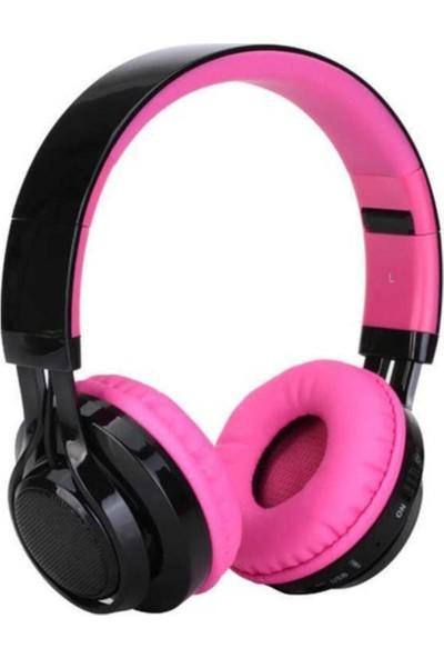 BLUPPLEBt-005 Bluetooth Kulaküstü Katlanabilir Mikrofonlu Kulaklık Led Işıklı Pembe Kız Çocuk