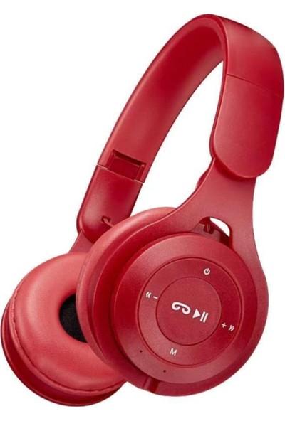 Blupple Blupplem6 Bluetooth 5.0 Wireless Kablosuz Kulaküstü Stereo Kulaklık USB Katlanabilir Kırmızı Genç