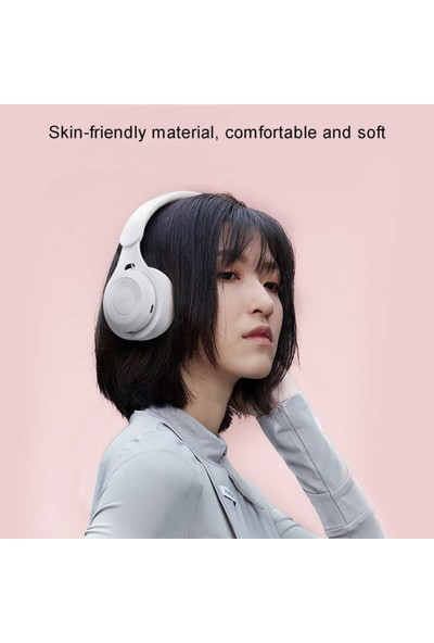 Blupplem6 Bluetooth 5.0 Wireless Kablosuz Kulaküstü Stereo Kulaklık USB Katlanabilir Beyaz Genç