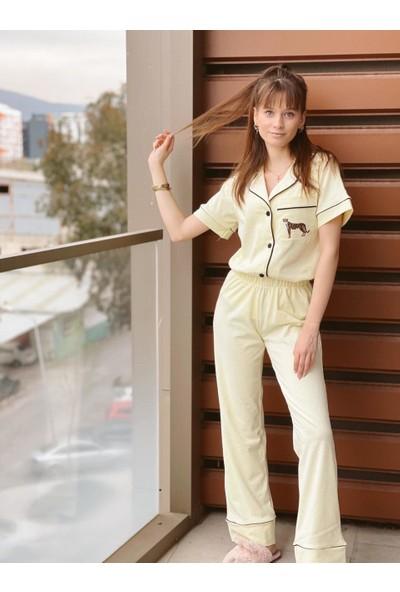 Serbella Sarı Üzeri Leopar Nakış Işlemeli Pijama Takımı Xs
