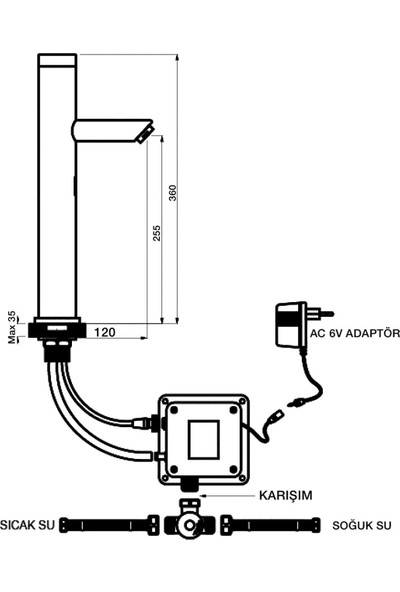 Newarc Newart Çanak Tipi Fotoselli Lavabo Bataryası
