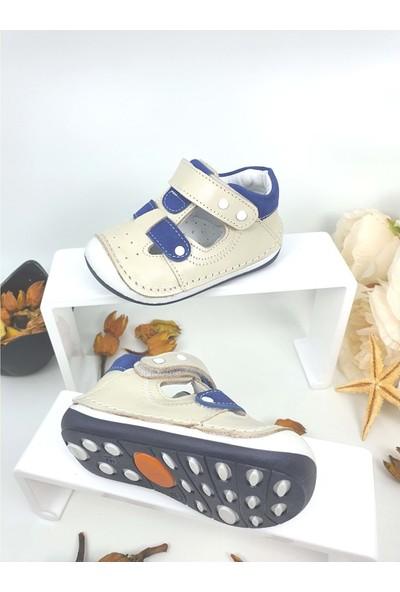 Rüzgar Bebe Hakiki Deri Çocuk Ayakkabısı - Rüzgar Bebe - Bej - 18 - NKT00037-BEJ-18