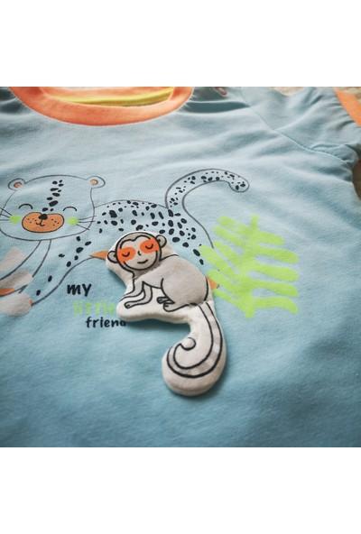 Erkek Bebek Pamuklu Mavi Turuncu Şortlu Takım