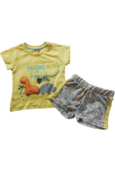Erkek Bebek Sarı Tişört Şortlu Pamuklu Takım