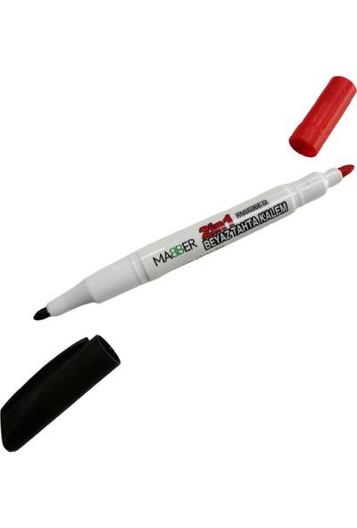 Mabber Beyaz Tahta Kalemi - Çift Uçlu - Siyah Kırmızı