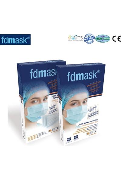 Fdmask Cerrahi Maske 3 Katlı Telli Ultrasonik 10 Adet Mavi
