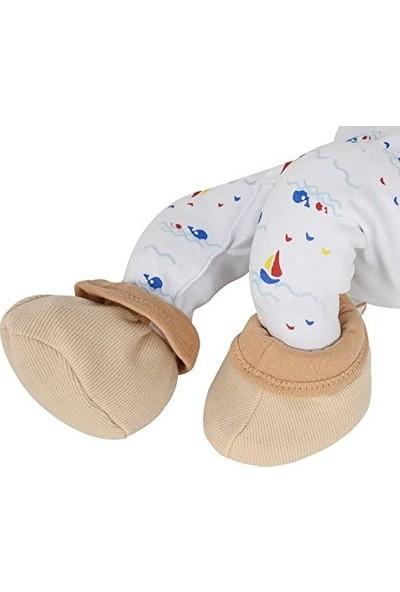 Sevi Bebe %100 Pamuk Kumaş Kiraz Çekirdekli Kahverengi Gaz Giderici Bebek Patik Çorap