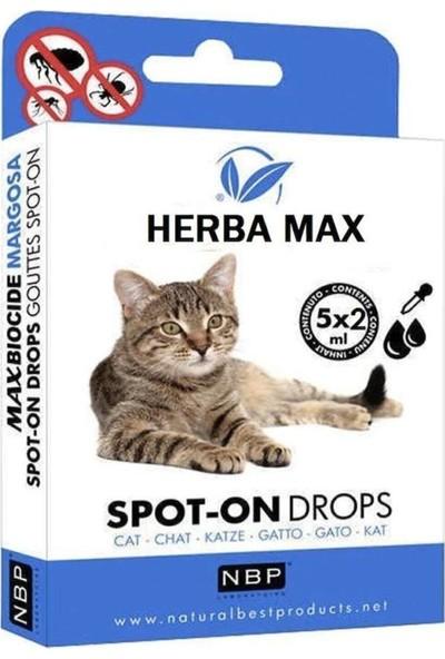 Herba Max Bitkisel Kedi Bit, Pire, Kene Ense Damlası Dış Parazit 5 x 2 ml