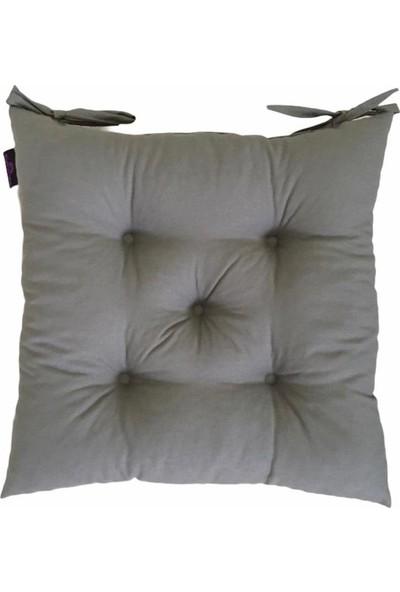 By Kutlay Home Collection Bykutlay Home Collection Sandalye Minderi, Duck Kumaş, Antrasit Renk, 1. Kalite Slikon, Ortası 5 Yuvarlak Dikişli, 40*40 Cm.