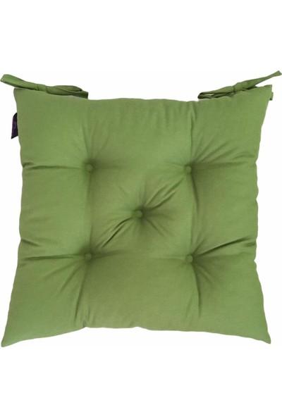 By Kutlay Home Collection Bykutlay Home Collection Sandalye Minderi, Duck Kumaş, Çimen Yeşili Renk, 1. Kalite Slikon, Ortası 5 Yuvarlak Dikişli, 40*40 Cm.