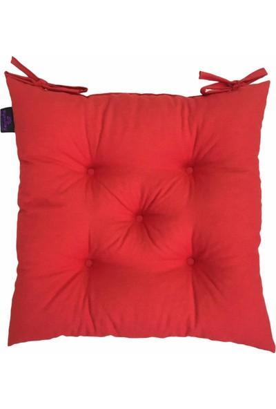 By Kutlay Home Collection Bykutlay Home Collection Sandalye Minderi, Duck Kumaş, Kırmızı Renk, 1. Kalite Slikon, Ortası 5 Yuvarlak Dikişli, 40*40 Cm.