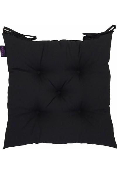By Kutlay Home Collection Sandalye Minderi, Duck Kumaş, Siyah Renk, 1. Kalite Slikon, Ortası 5 Yuvarlak Dikişli, 40*40 Cm.