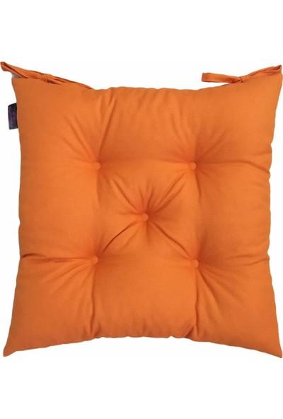 By Kutlay Home Collection Sandalye Minderi, Duck Kumaş, Turuncu Renk, 1. Kalite Slikon, Ortası 5 Yuvarlak Dikişli, 40*40 Cm.