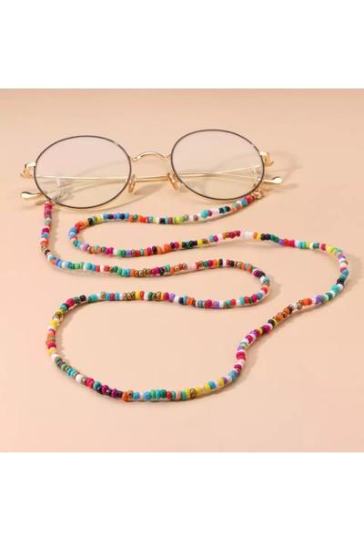 Platin Hediyelik Kadın Karışık Kum Boncuklu Gözlük İpi Askısı