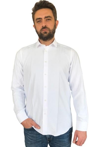 İZEV Armürlü Balıksırtı Beyaz Erkek Gömlek