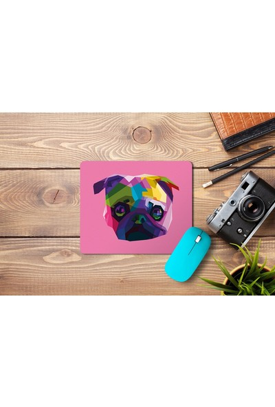 Wuw Ilustrasyon Pug Köpek Temalı Dikdörtgen Mouse Pad