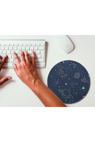 Wuw Uzay ve Gezegen Desenli Yuvarlak Mouse Pad