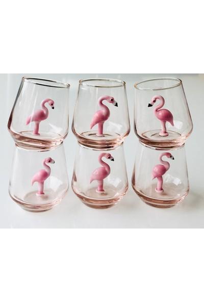 Adamodart Flamingo Figürlü Kahve Yanı Su Bardağı 6'lı Set
