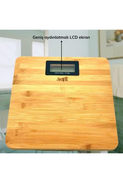 Techfit Bambu Banyo Baskülü Yüksek Hassasiyetli Darbelere Dijital Dayanıklı Terazi Tf 1065 Max 180KG