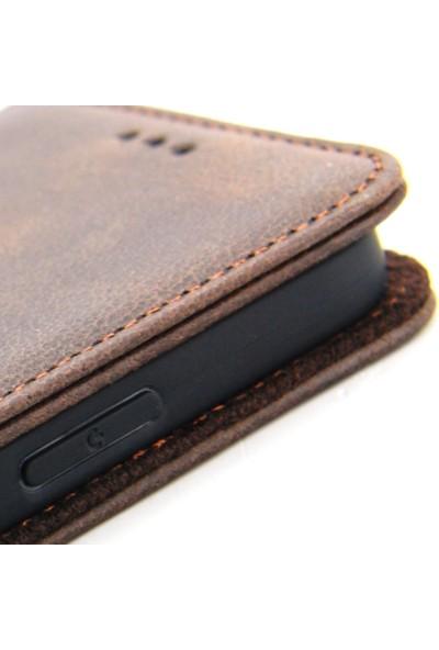 CoverZone Huawei P30 Hakiki Deri Standlı Mıktanıslı New Central Kılıf Siyah