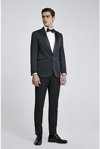 D'S Damat Slim Fit Siyah Armürlü Smokin Takım Elbise