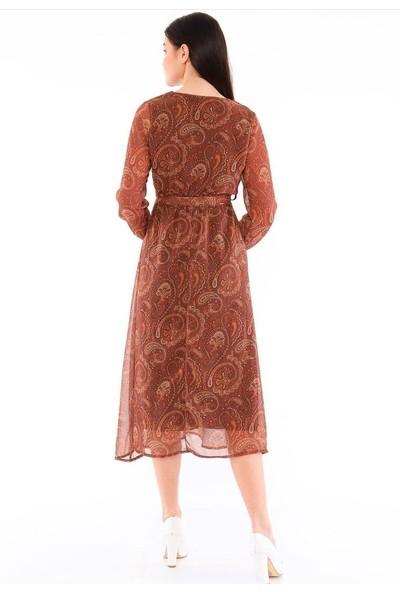 Banuhan Kruveza Yakalı Sifon Elbise