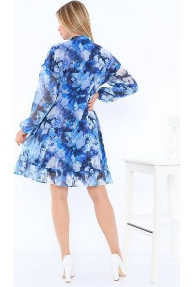 Banuhan Yaka Bağcıklı Rahat Düşük Kol Şifon Elbise
