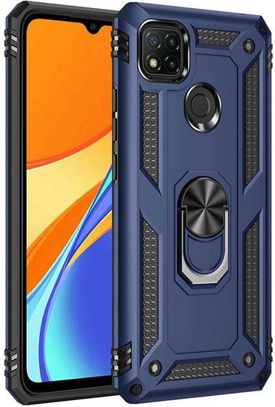 Nezih Case Xiaomi Redmi 9c Uyumlu Yüzüklü (Standlı) Zırh Kılıf Mavi