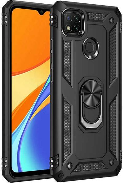 Nezih Case Xiaomi Redmi 9c Uyumlu Yüzüklü (Standlı) Zırh Kılıf Siyah