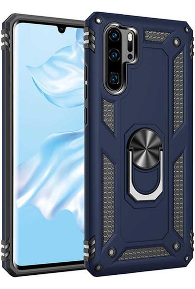 Nezih Case Huawei P30 Pro Uyumlu Yüzüklü (Standlı) Zırh Kılıf Mavi