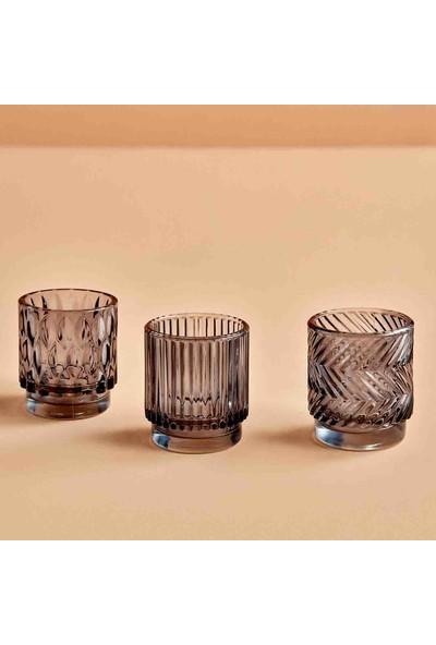 Bella Maison Striped Tealight Mumluk Koyu Gri 7x8 cm