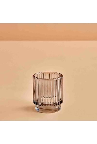 Bella Maison Striped Açık Gri Tealight Mumluk 7x8 cm